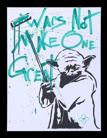 Lot #3 - STAR WARS - Yoda 'Street Art' Poster - Green Writing, 2011