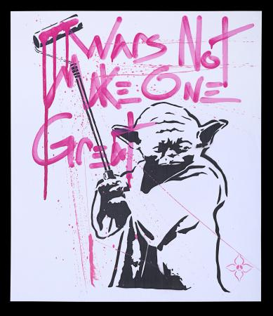 Lot #4 - STAR WARS - Yoda 'Street Art' Poster - Pink Writing, 2011