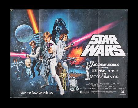 "Lot #6 - STAR WARS: A NEW HOPE (1977) - UK Quad Poster ""Style C"" Awards Style, 1977"