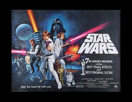 "Lot #7 - STAR WARS: A NEW HOPE (1977) - UK Quad Poster ""Style C"" Awards Style, 1977"