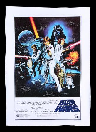 "Lot #8 - STAR WARS: A NEW HOPE (1977) - Autographed One-Sheet ""Style C"" Canvas Poster"