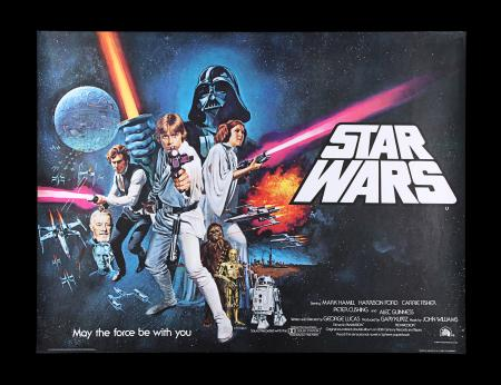 "Lot #9 - STAR WARS: A NEW HOPE (1977) - UK Quad ""Non-Oscars"" Poster, 1977"