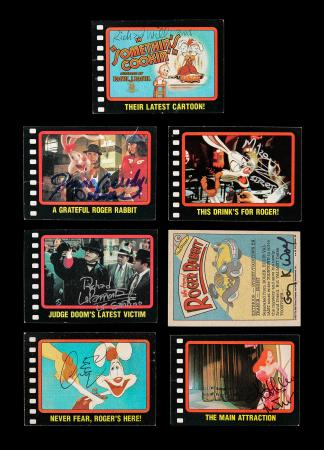 Lot #69 - WHO FRAMED ROGER RABBIT (1988) - Seven Autographed Trading Cards, 1987