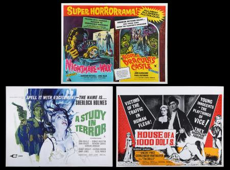 Lot #86 - A STUDY IN TERROR (1965), HOUSE OF A 1000 DOLLS (1967) AND NIGHTMARE IN WAX/BLOOD OF DRACULA'S CASTLE (1969) - Three UK Quad Posters, 1967