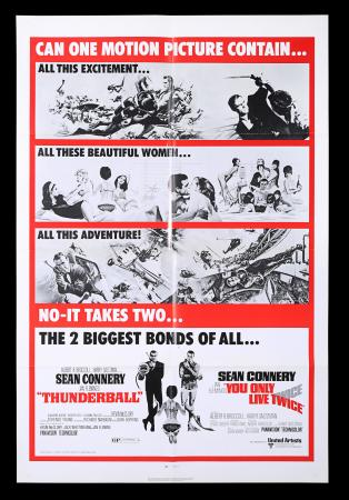 Lot #143 - THUNDERBALL (1965) / YOU ONLY LIVE TWICE (1971) - US One-Sheet Poster, 1971