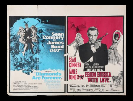 Lot #151 - DIAMONDS ARE FOREVER (1971) / FROM RUSSIA WITH LOVE (1963) - UK Quad Poster, 1972 Re-Release