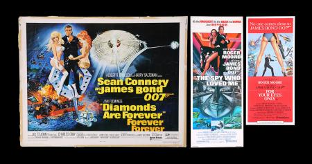 Lot #152 - DIAMONDS ARE FOREVER (1971) / THE SPY WHO LOVED ME (1977) / FOR YOUR EYES ONLY (1981) - Three US / Australian Posters, 1971, 1977, 1981