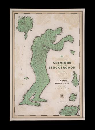 Lot #239 - CREATURE FROM THE BLACK LAGOON (1954) - Mondo Poster - Map Style, 2012