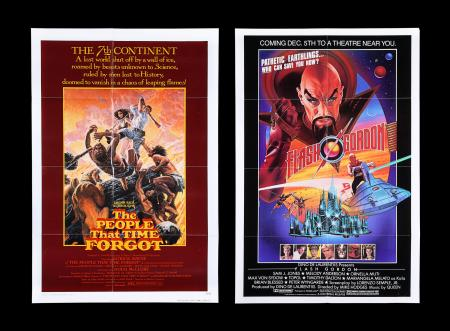 Lot #322 - FLASH GORDON (1980) AND THE PEOPLE THAT TIME FORGOT (1977) - Two US One-Sheet Posters, 1977-80