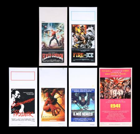 Lot #323 - FLASH GORDON / 1941 / PREDATOR / ENEMY MINE / SPIDER-MAN / FIRE & ICE - Six Italian Locandinas, 1980 to 2002