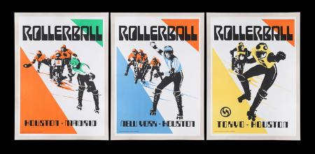 Lot #330 - ROLLERBALL (1975) - Three Faux Film Prop Posters, 1975