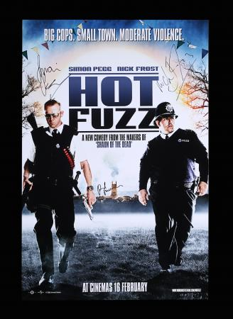 Lot #95 - HOT FUZZ (2007) - Reproduction Poster, 2007, Autographed by Simon Pegg, Nick Frost and Paul Freeman
