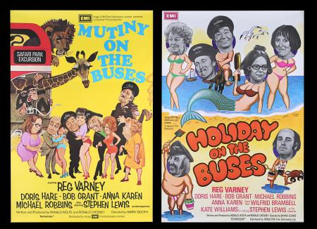Lot #96 - MUTINY ON THE BUSES (1972), HOLIDAY ON THE BUSES (1973) - Two British One-Sheets, 1972, 1973