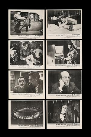 Lot #218 - DR. STRANGELOVE (1964) - Eight British Front of House Lobby Cards, 1964