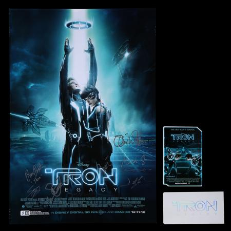 Lot #234 - TRON: LEGACY (2010) - US/International One-Sheet and Tickets, 2010, Autographed by Joseph Kosinski, Jeff Bridges and Others