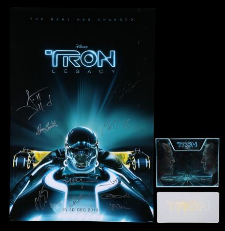 Lot #235 - TRON: LEGACY (2010) - US/International One-Sheet and Tickets, 2010, Autographed by Joseph Kosinski, Garrett Hedlund and Others