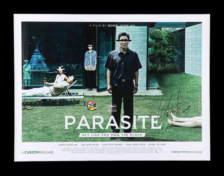 Lot #263 - PARASITE (2019) - UK Quad, 2019, Autographed by Bong Joon Ho