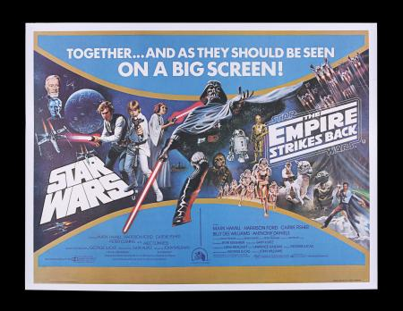 Lot #305 - STAR WARS: A NEW HOPE (1977) / EMPIRE STRIKES BACK (1980) - UK Double-Bill Quad, 1980