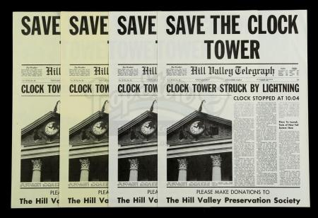 "Lot #61 - BACK TO THE FUTURE (1985) - Set of Four ""Save The Clock Tower"" Flyers"