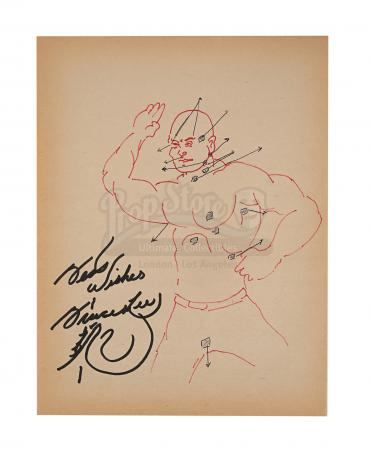 Lot #146 - BRUCE LEE - Bruce Lee Hand-illustrated and Autographed Jeet Kune Do Drawing