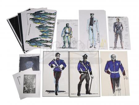 Lot #200 - DEMOLITION MAN (1993) - Bob Ringwood Hand-painted Main Character Costume Designs, Assorted Artwork and Promotional Stills