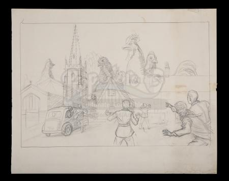 Lot #268 - THE FOOD OF THE GODS (C.1961) - Ray Harryhausen Hand-drawn Giant Chicken Concept Art