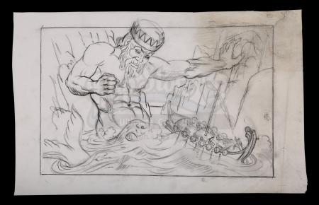 Lot #413 - JASON AND THE ARGONAUTS (1963) - Ray Harryhausen Hand-Drawn Concept Sketch of Triton (William Gudgeon) and the Argo