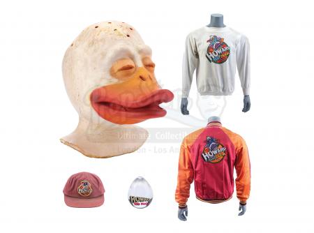 Lot #337 - HOWARD THE DUCK (1986) - Production-Made Duck Head Appliance with Crew Hat, Jacket, Shirt, and Acrylic Egg