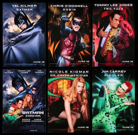Lot #39 - BATMAN FOREVER (1995) - Group of Six US One-Sheets, 1995