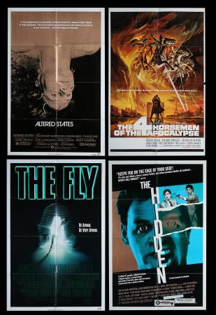 Lot #398 - ALTERED STATES (1980), THE FLY (1986), THE HIDDEN (1987), FOUR HORSEMEN OF THE APOCALYPSE (1962) - Four US One-Sheets, 1961, 1980, 1986, 1987
