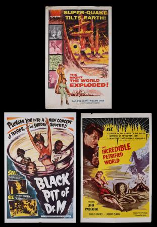 Lot #400 - THE NIGHT THE WORLD EXPLODED (1957), THE INCREDIBLE PETRIFIED WORLD (1959), BLACK PIT OF DR. M (1959) - Three US One-Sheets, 1957, 1959