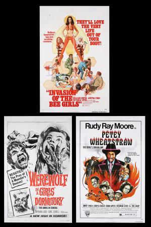 Lot #401 - WEREWOLF IN A GIRLS' DORMITORY (1961), INVASION OF THE BEE GIRLS (1973), PETEY WHEATSTRAW (1977) - Three US One-Sheets, 1963, 1973, 1977